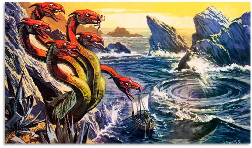 Image result for caught between scylla and charybdis